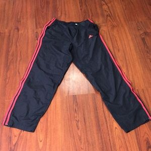 Adidas Black Windbreaker Joggers Pant Red Stripes